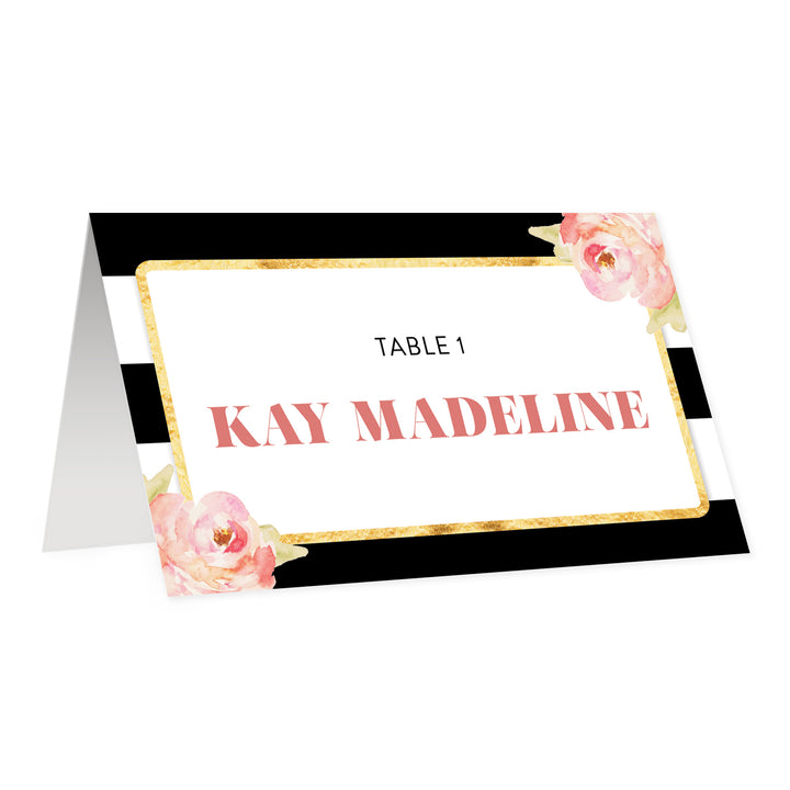 Black + White Striped Place Cards with Blush Floral | Kay