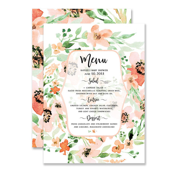 """Kaylee"" Floral Watercolor Baby Shower Menu"