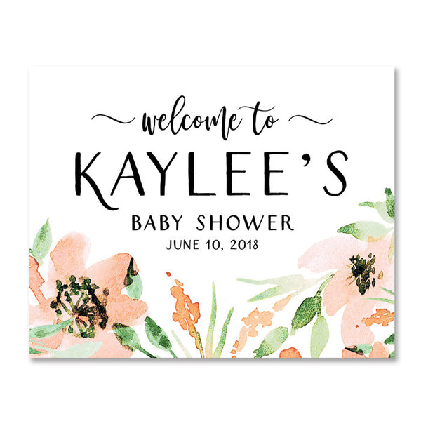 """Kaylee"" Floral Watercolor Baby Shower Welcome Sign"