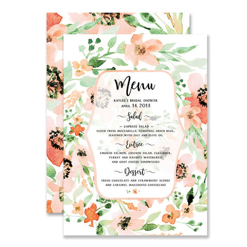"""Kaylee"" Floral Watercolor Bridal Shower Menu"