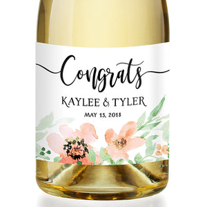 """Kaylee"" Floral Watercolor Engagement Champagne Labels"