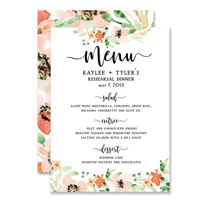"""Kaylee"" Floral Watercolor Rehearsal Dinner Menu"