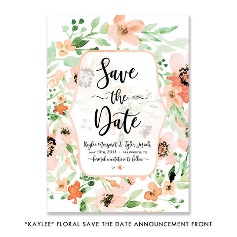 """Kaylee"" Floral Save The Date Card"