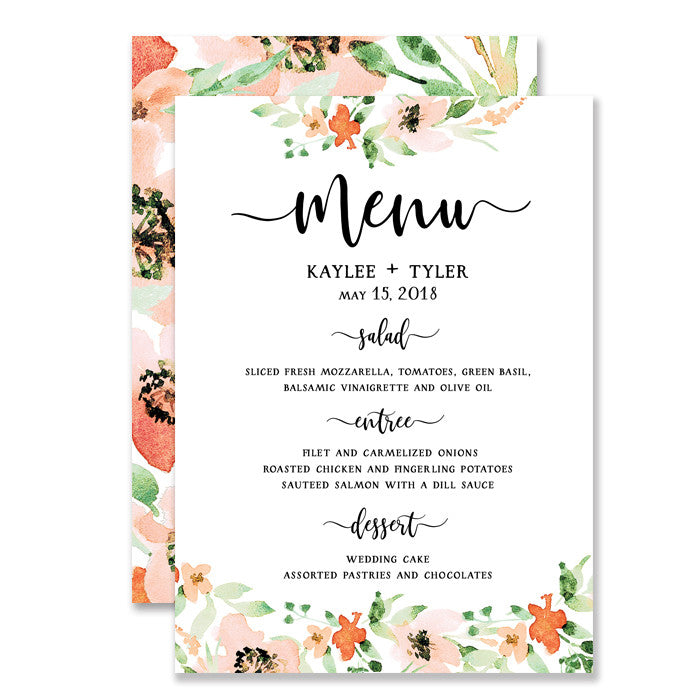 Kaylee Floral Watercolor Wedding Menu  Digibuddha