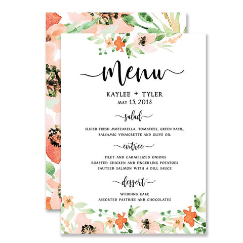 """Kaylee"" Floral Watercolor Wedding Menu"