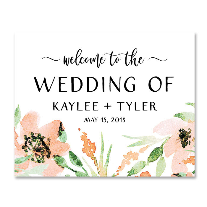 """Kaylee"" Floral Watercolor Wedding Welcome Sign"