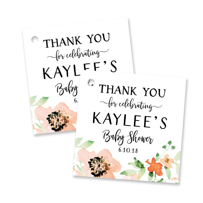 """Kaylee"" Floral Watercolor Baby Shower Favor Tags"