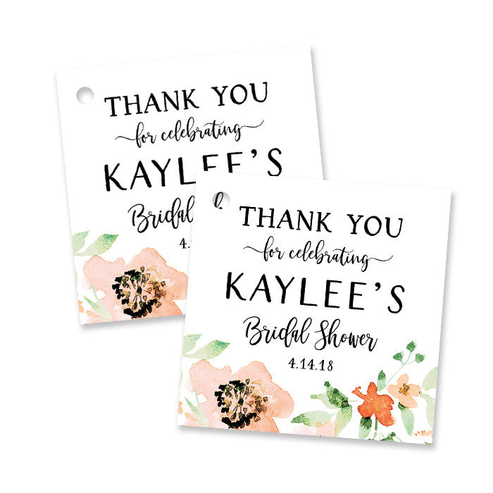 """Kaylee"" Floral Watercolor Bridal Shower Favor Tags"