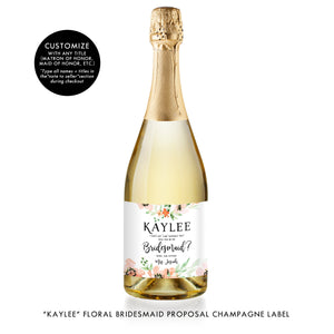 """Kaylee"" Floral Bridesmaid Proposal Champagne Labels"