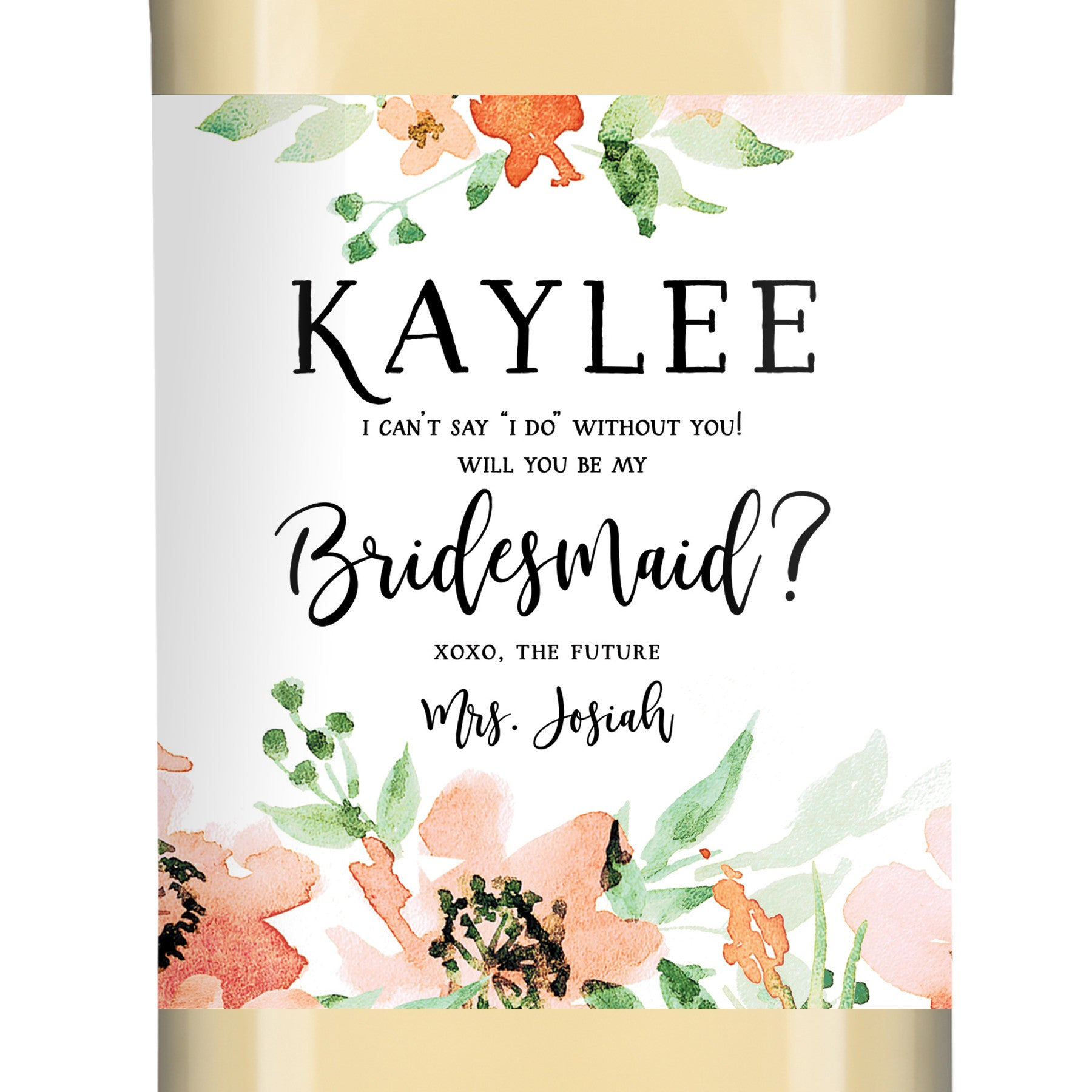 Kaylee Floral Bridesmaid Proposal Wine Labels