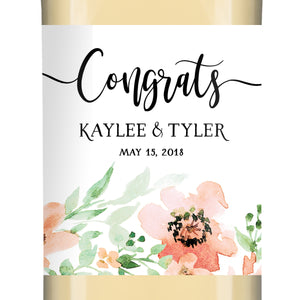 """Kaylee"" Floral Engagement Wine Label"