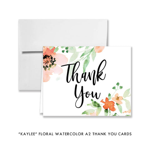 """Kaylee"" Floral Watercolor Thank You Card"