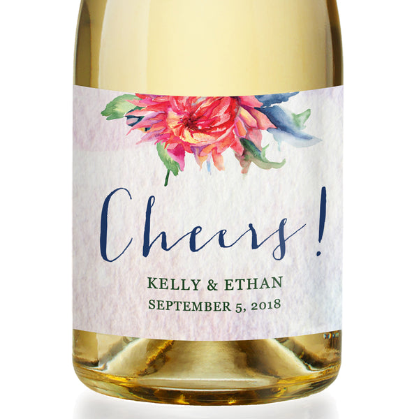 """Kelly"" Boho Floral Engagement Champagne Labels"