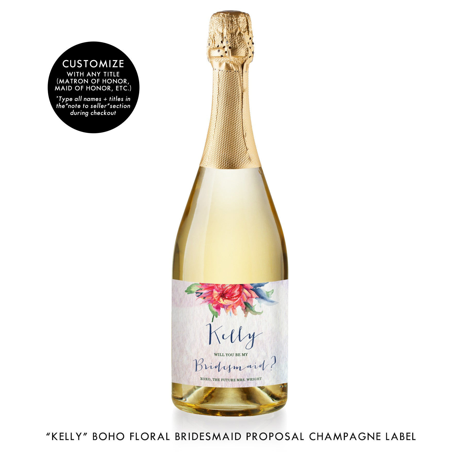 """Kelly"" Boho Floral Bridesmaid Proposal Champagne Labels"