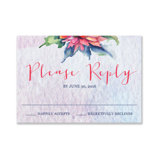 """Kelly"" Boho Floral RSVP Card"