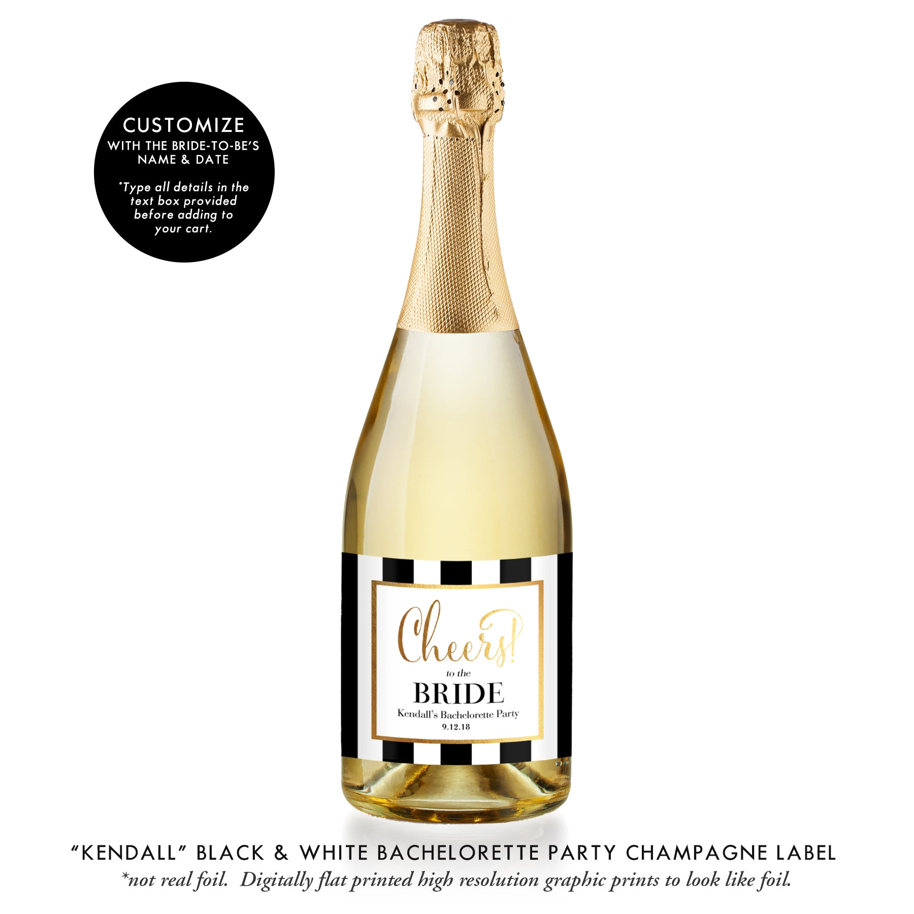 """Kendall"" Black & White Bachelorette Party Champagne Labels"