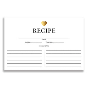 Gold Heart + Black Stripe Recipe Cards  |  Kendall