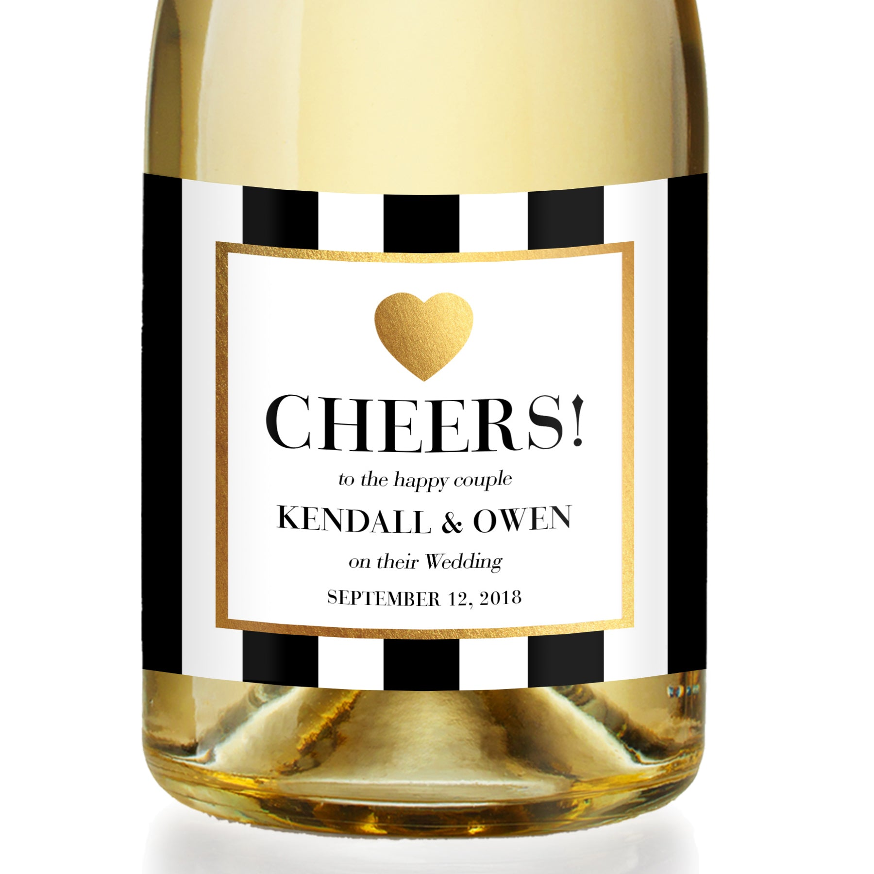 """Kendall"" Black & White Wedding Champagne Labels"
