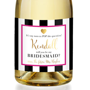 """Kendall"" Hot Pink Bridesmaid Proposal Champagne Labels"