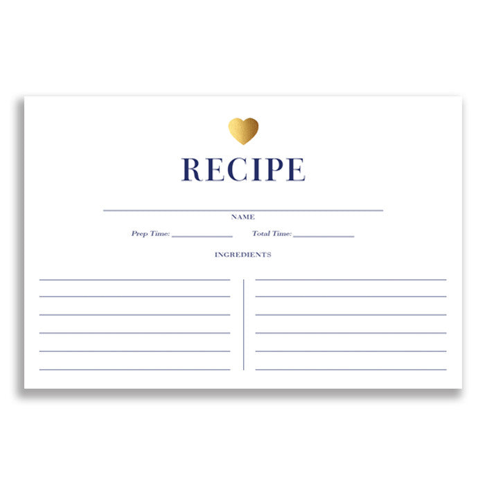Gold Faux Foil Heart  Navy Stripe Modern Recipe Cards  Digibuddha