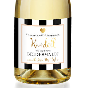 """Kendall"" Peach Bridesmaid Proposal Champagne Labels"