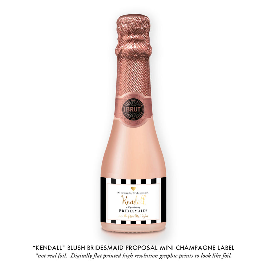 """Kendall"" Blush Bridesmaid Proposal Champagne Labels"