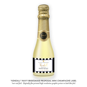 """Kendall"" Navy Bridesmaid Proposal Champagne Labels"