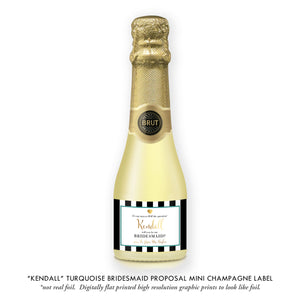 """Kendall"" Turquoise Bridesmaid Proposal Champagne Labels"
