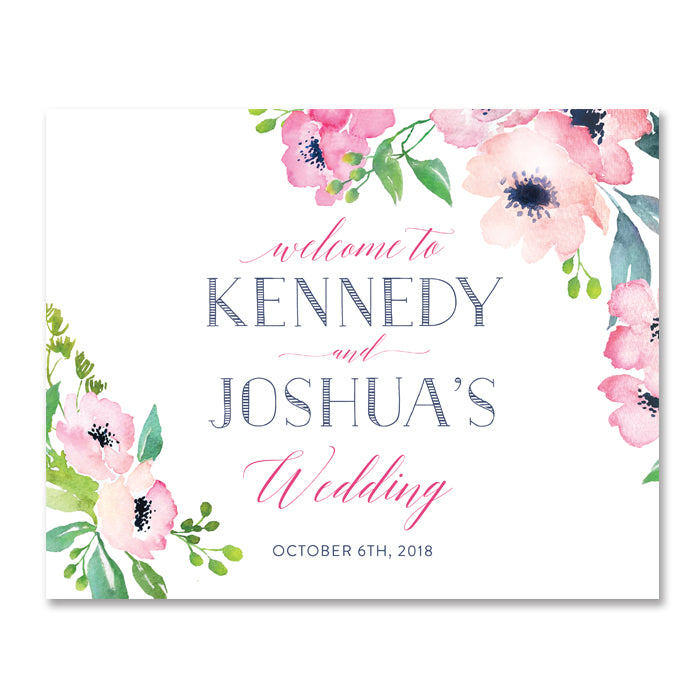 """Kennedy"" Floral Watercolor Wedding Welcome Sign"