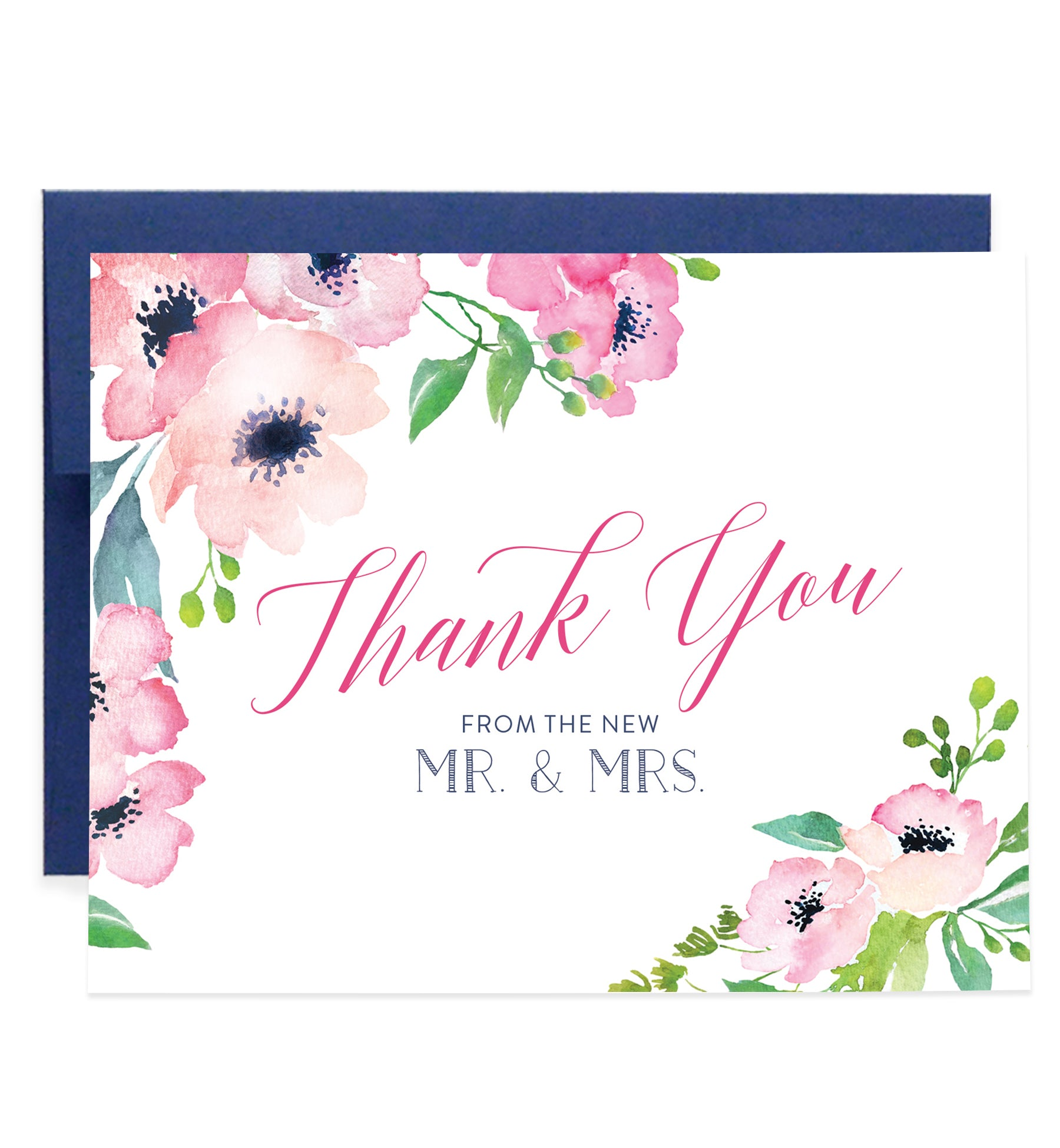 Newlywed Thank You Card Floral Watercolor Mr & Mrs