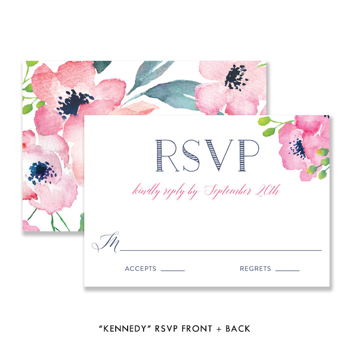 """Kennedy"" Floral Watercolor Wedding Invitation"