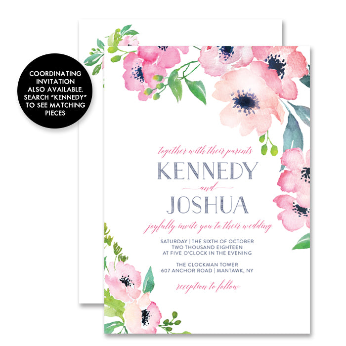 """Kennedy"" Floral Watercolor RSVP Card"