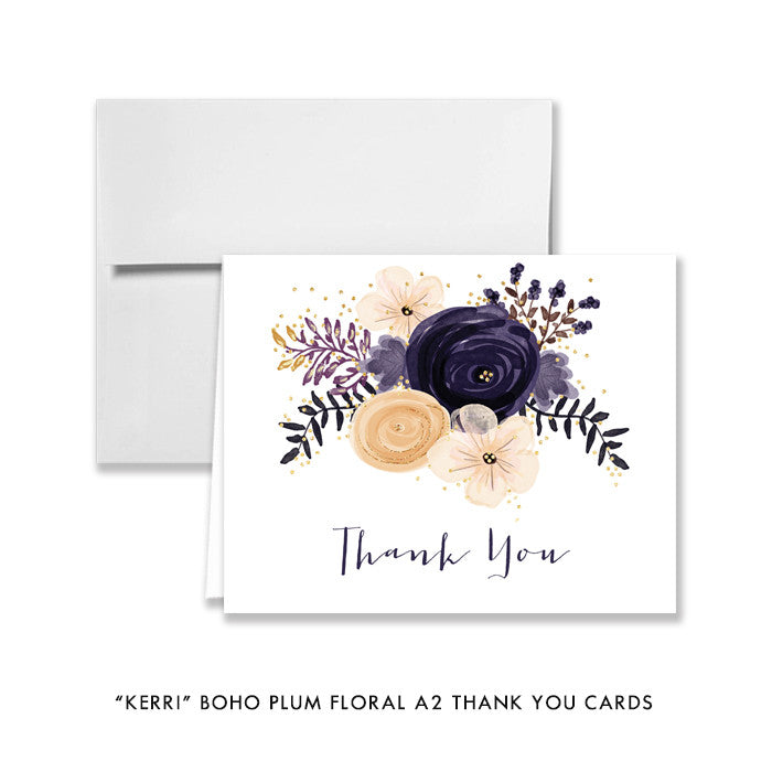 "Boho plum floral ""Kerri"" folded thank you cards 