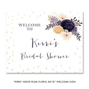 "Boho plum floral ""Kerri"" welcome party sign 