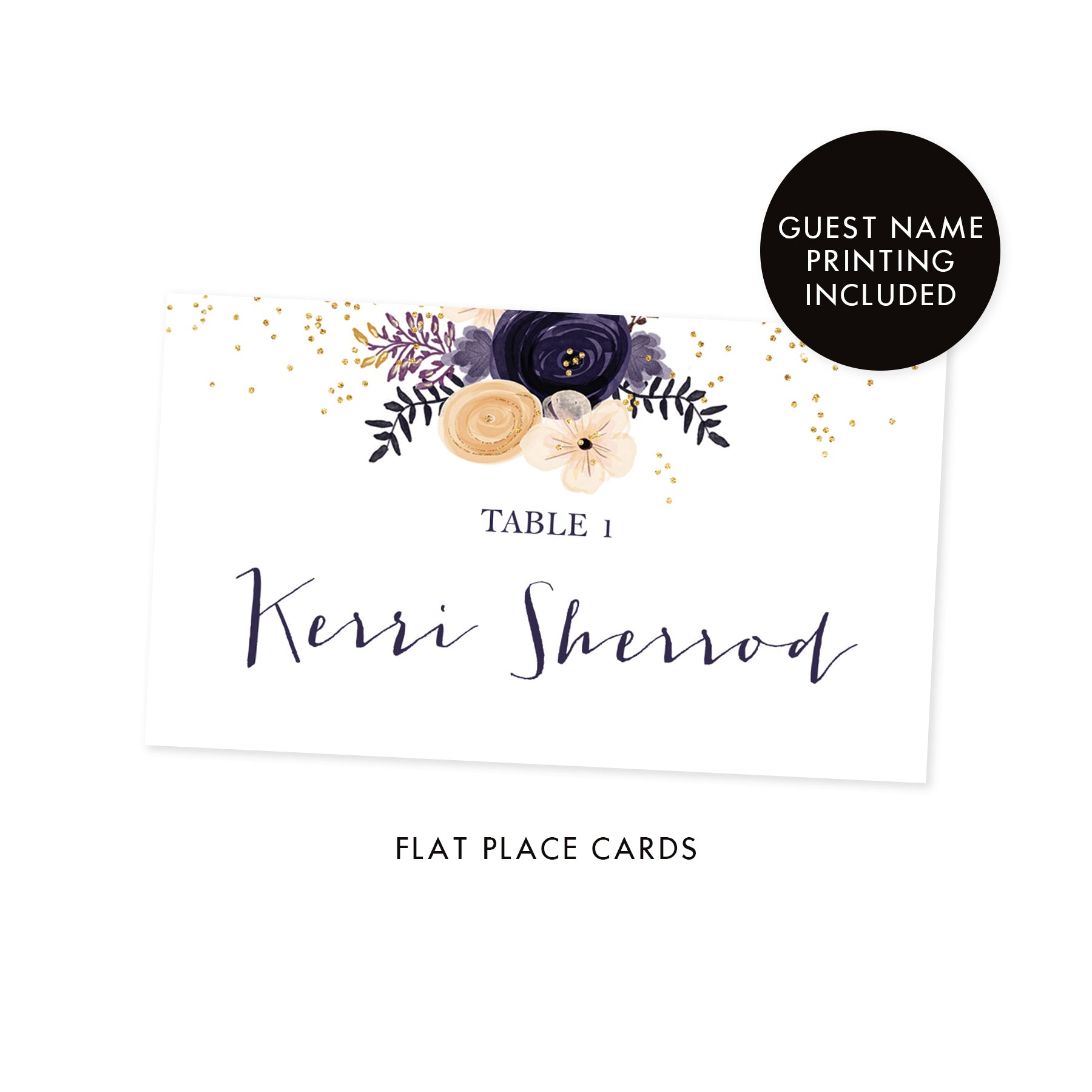 Boho Place Cards with Plum Floral | Kerri