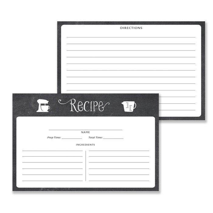 Black Recipe Cards |  Kim Chalk