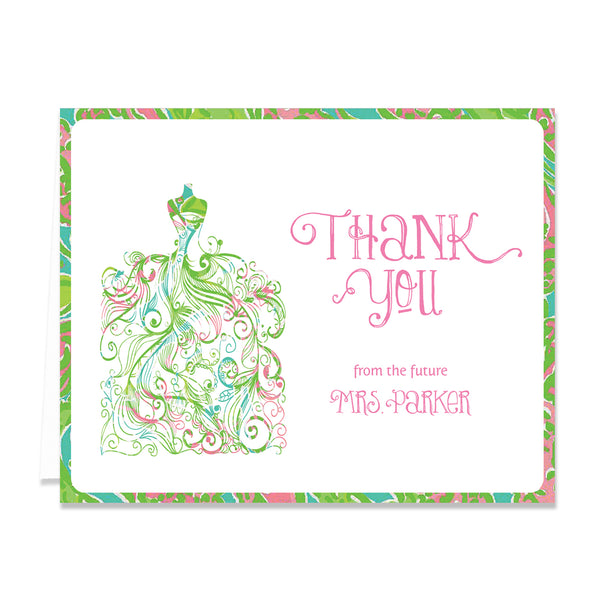 """Kim"" Preppy Paisley Bridal Thank You Card"