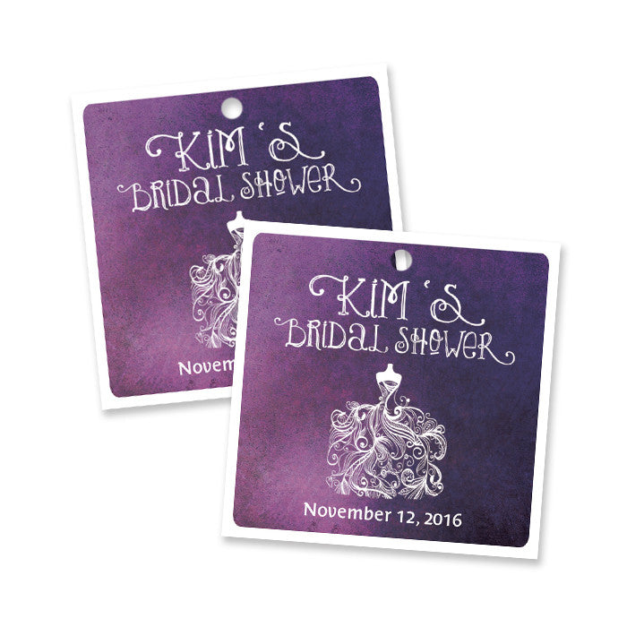 "Purple ombre watercolor ""Kim"" wedding dress favor tags 