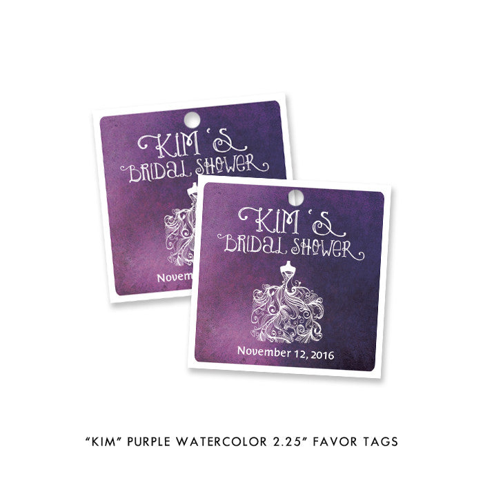"Purple watercolor wedding dress ""Kim"" bridal shower favor tags 