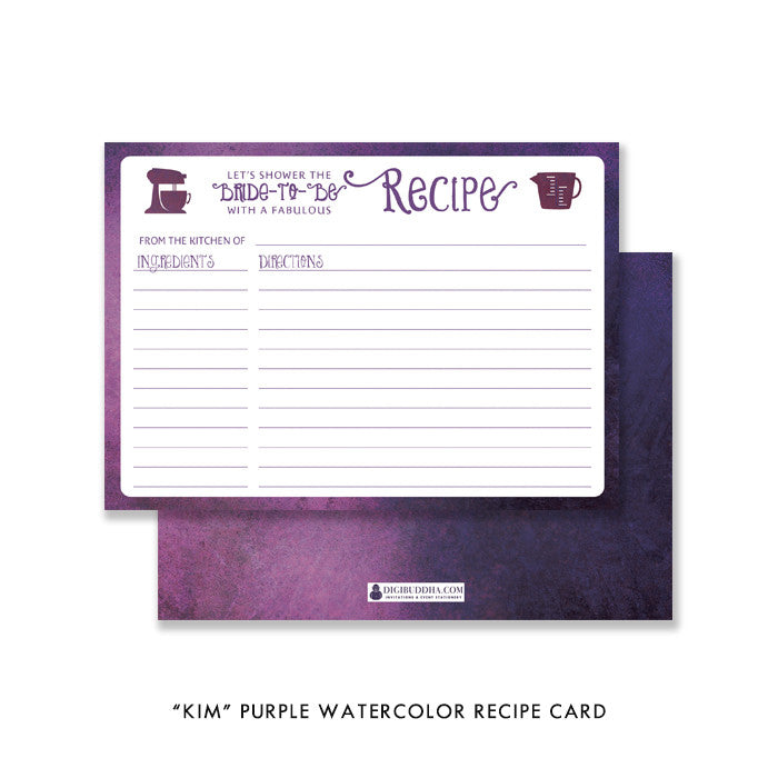 "Purple watercolor ""Kim"" recipe cards 