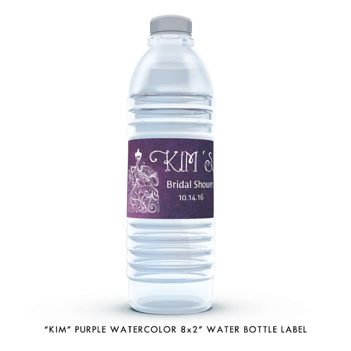 "Purple watercolor wedding dress ""Kim"" waterproof water bottle labels 