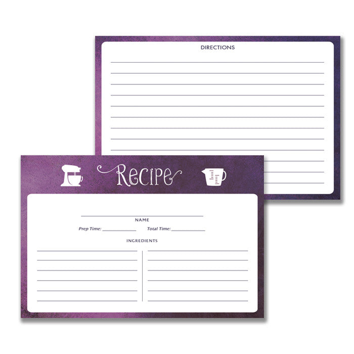 Purple Ombre Watercolor Recipe Cards Gift Set | Kim