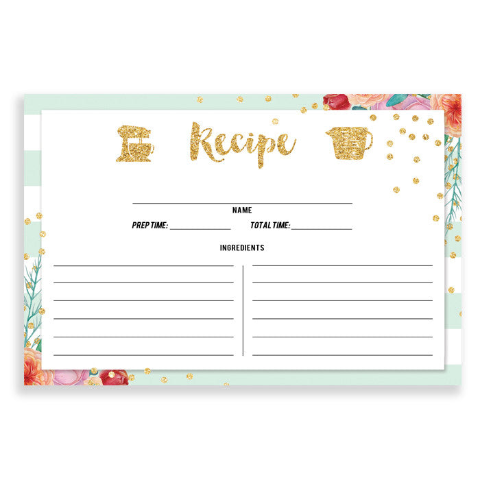 Floral + Stripe Recipe Cards |  Krissy Mint Peach
