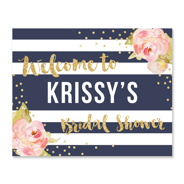 """Krissy"" Navy Stripe Bridal Shower Welcome Sign"