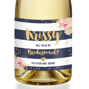 """Krissy"" Navy + Pink Peonies Bridesmaid Proposal Champagne Labels"