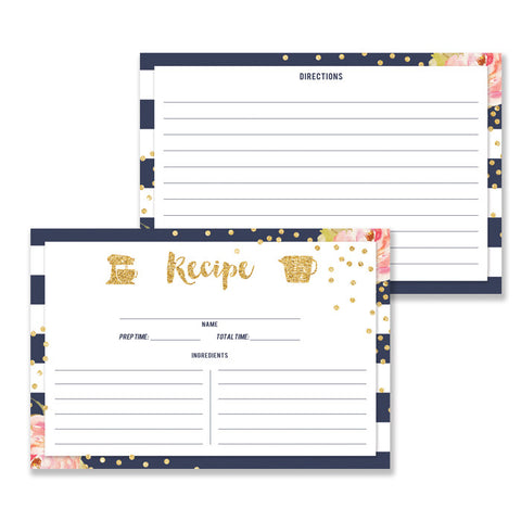 Floral + Stripe Recipe Cards |  Krissy Navy