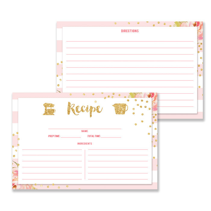 Floral + Stripe Recipe Cards |  Krissy Pink
