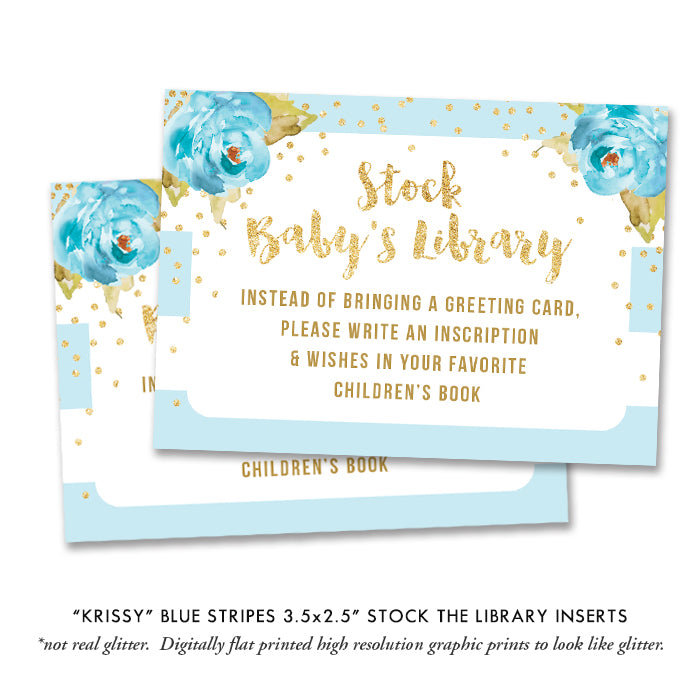 """Krissy"" Blue Stripe Baby Shower Invitation"