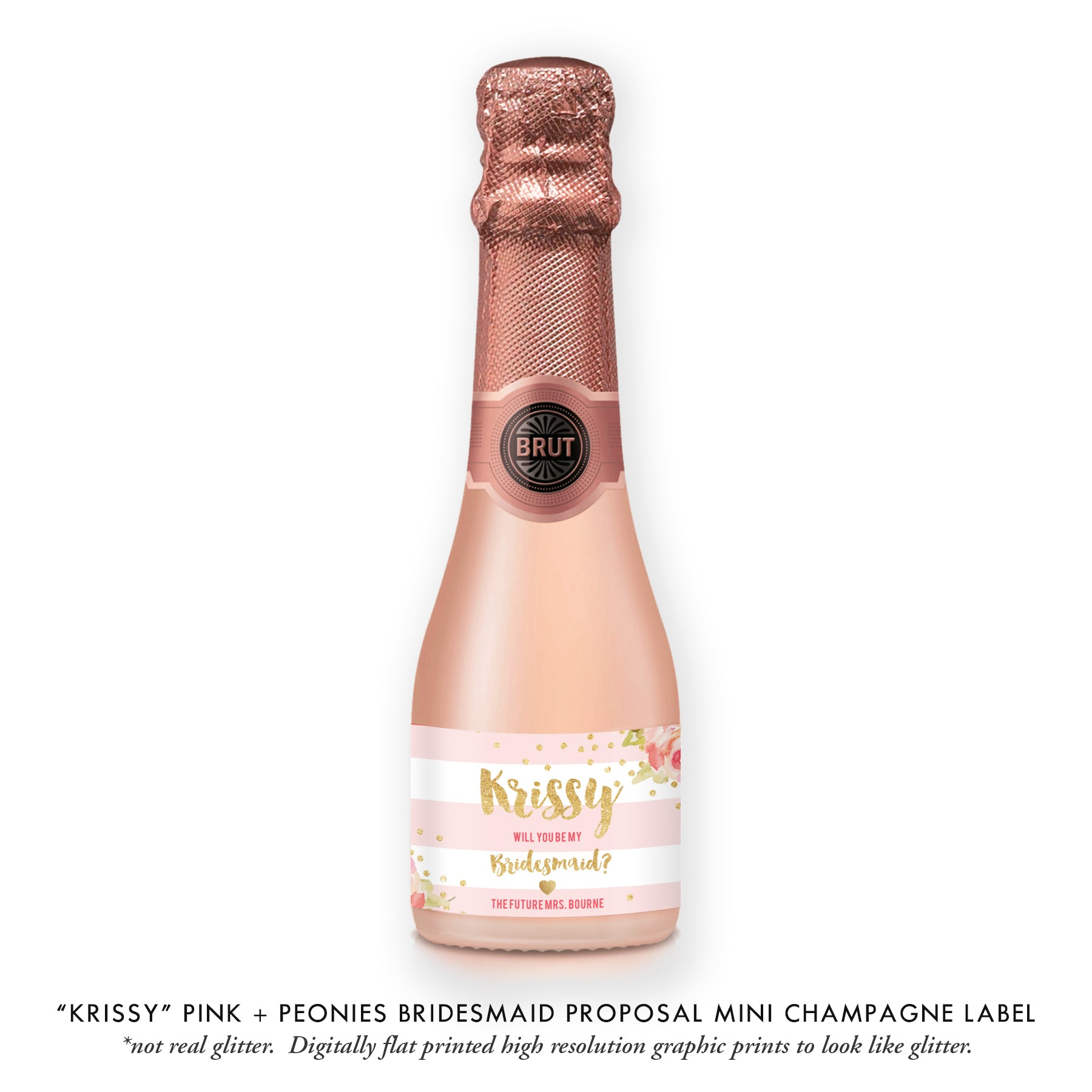 """Krissy"" Pink + Peonies Bridesmaid Proposal Champagne Labels"