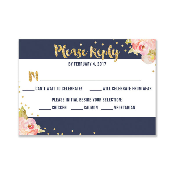 """Krissy"" Navy + Pink Sriped RSVP Card"
